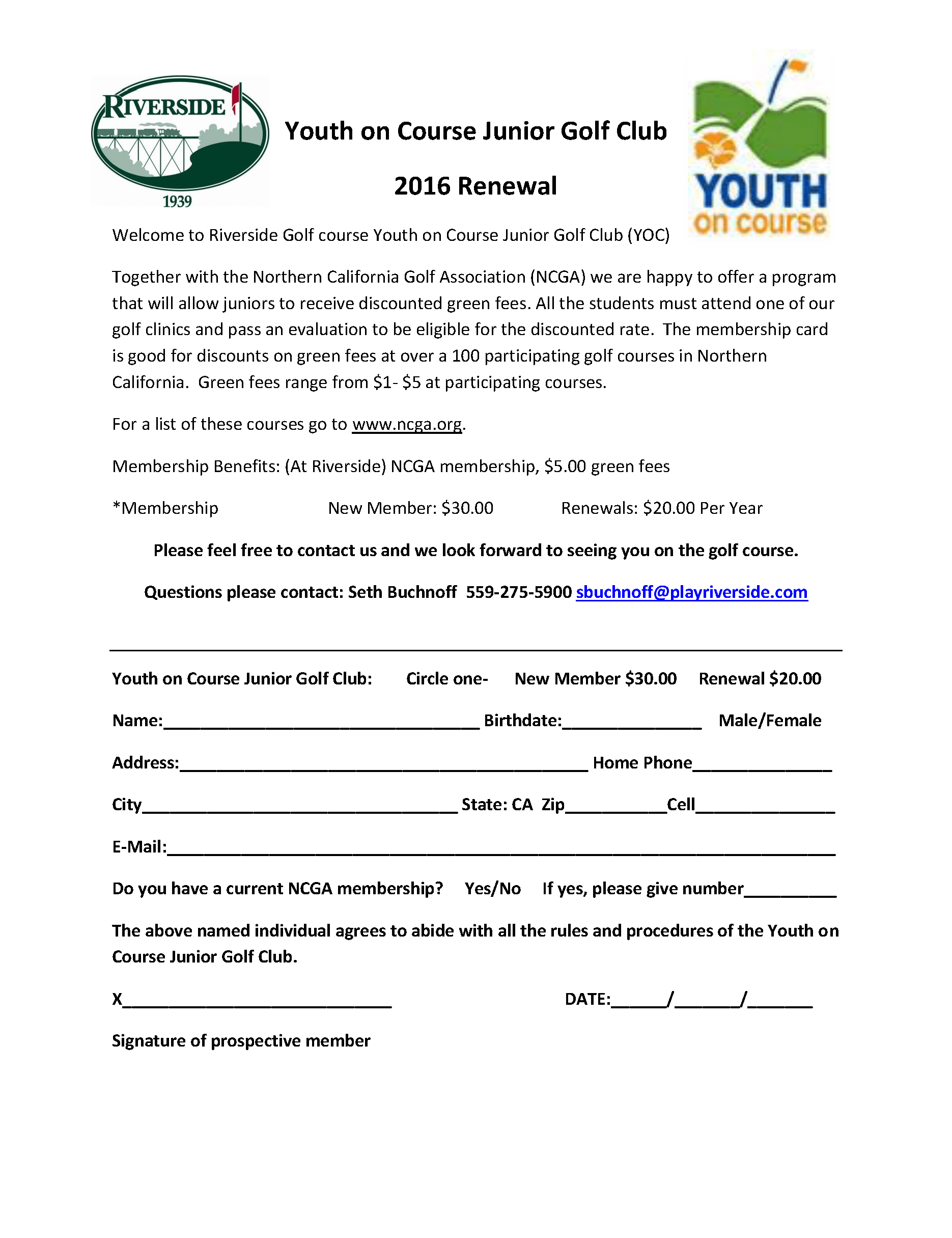 Youth on Course Junior Golf Club membership form 2016